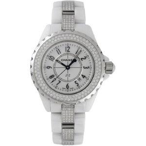 3d484bc66d4 Montre » Chanel J12 Céramique blanche 33 mm Diamond Bezel et Bracelet  Quartz - H1420
