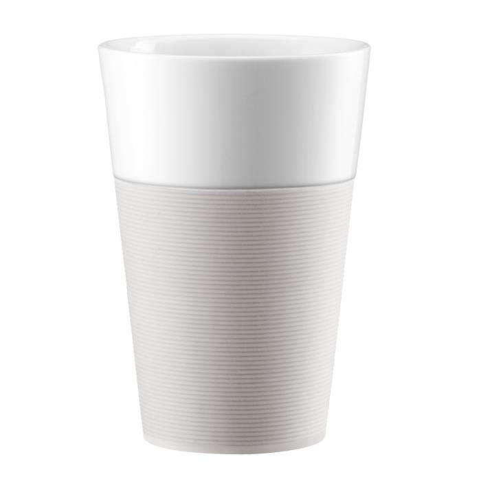 BODUM BISTRO Set 2 mugs en porcelaine avec bande silicone 0,6L blanc crème