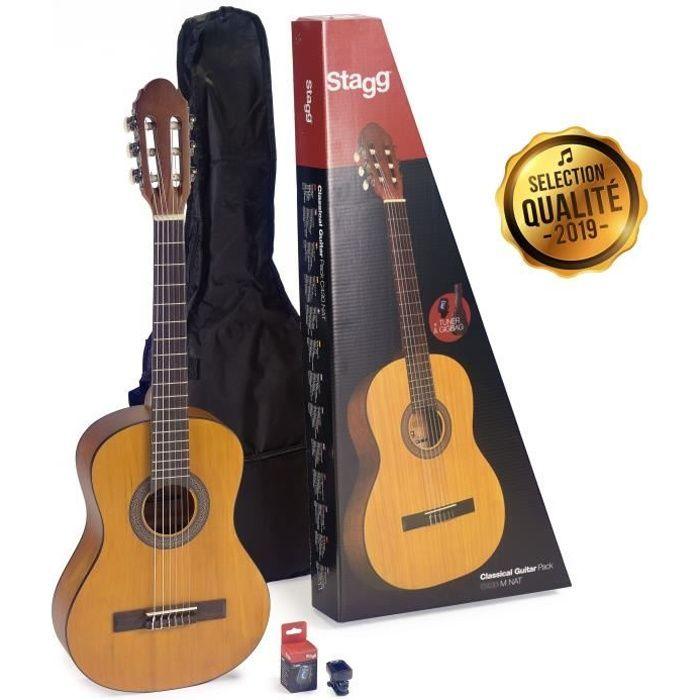STAGG C430 M NAT PACK Pack comprenant 1 guitare classique 3/4 de couleur naturelle - 1 accordeur - 1 housse