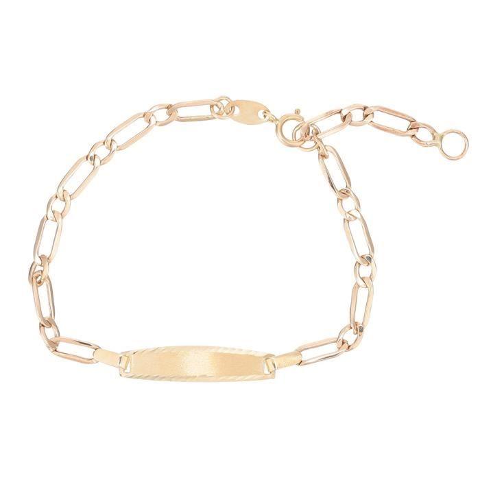 YSORA Bracelet Identité Or Jaune 375° Maille Alternée Bébé Mixte