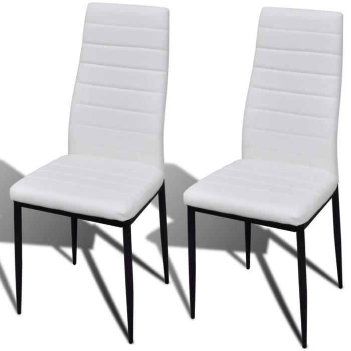 chaise magnifique 2 pcs chaise salle a manger blanc ligne