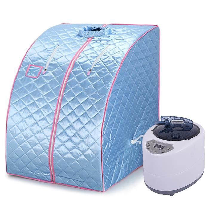 Ouistore® Boîte Sauna Fitness Pliant Sauna À Vapeur Spa avec chaise Bleu