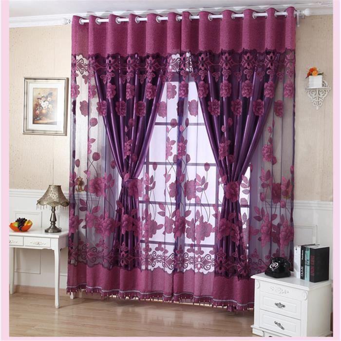 Charmant 1 Morceau De Voilage Fenêtre De La Porte De Fleurs Panneau Rideau  Décoration Pure Avec Des Perles Décoratives Violet Foncé