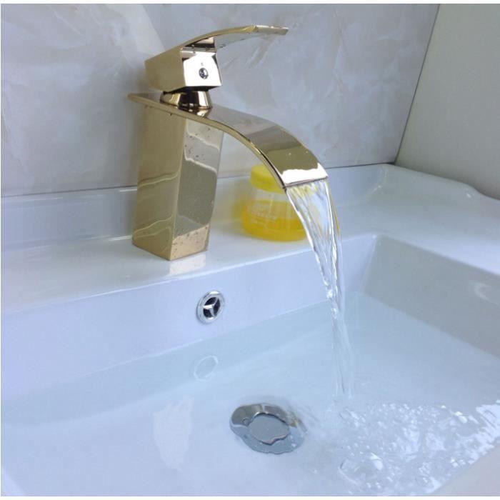Charmant Robinet De Salle De Bain Cascade Mitigeur De Lavabo Grand Robinetterie Pour  Vasque Cuivre