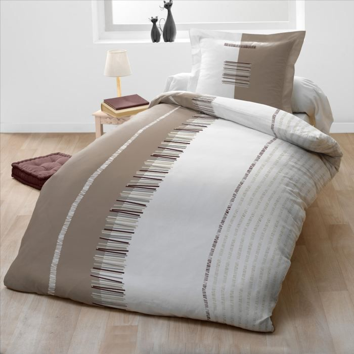 Casatxu Housse 140x200cm 1 Taie Pertinence Taupe Achat Vente