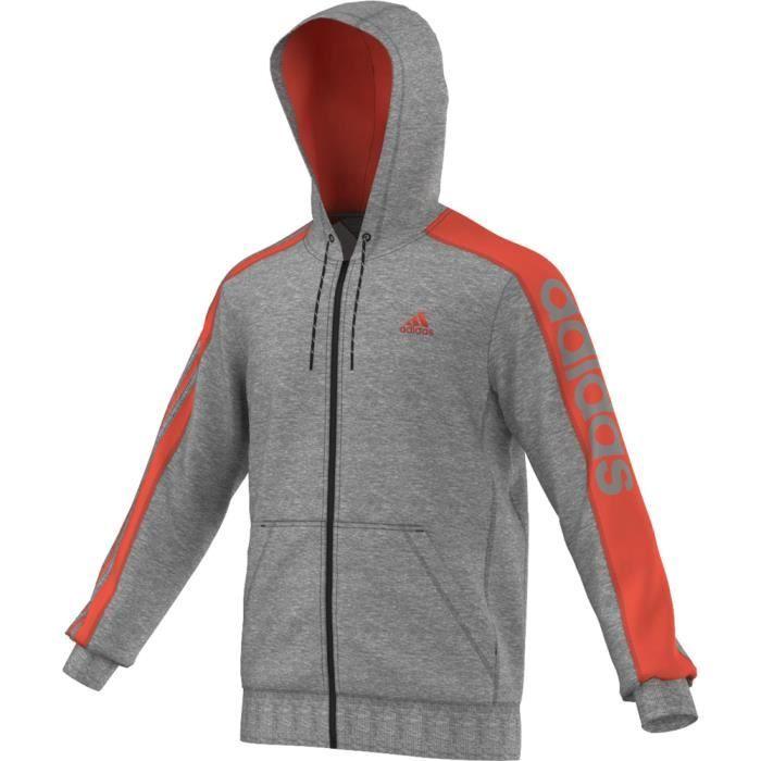 Veste à capuche Adidas Lin 3S FZ Hood Gris Gris - Achat   Vente ... d06a705417b