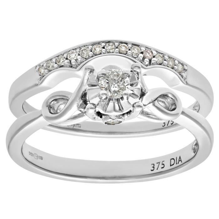Revoni Bague alliance Diamant Or Blanc 375° Femme: Poids du diamant : 0.15 ct - CD-PR08507W-P