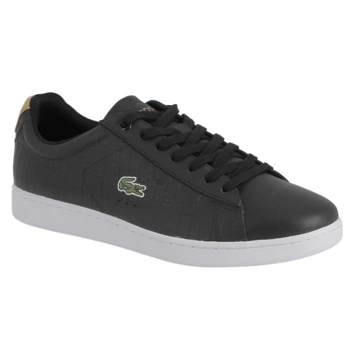 40311c1e1b30 Sneaker Lacoste Carnaby evo g117 en cuir noir et talon brun. Noir ...