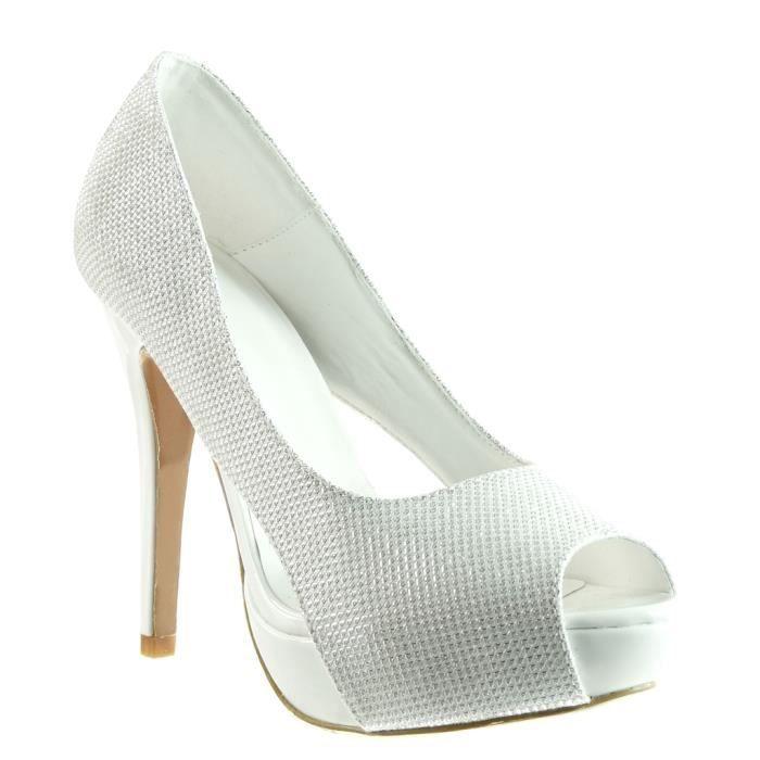 Angkorly - Chaussure Mode Escarpin peep-toe stiletto soirée femme brillant Talon haut aiguille 12.5 CM - Blanc - SK1108 T 41