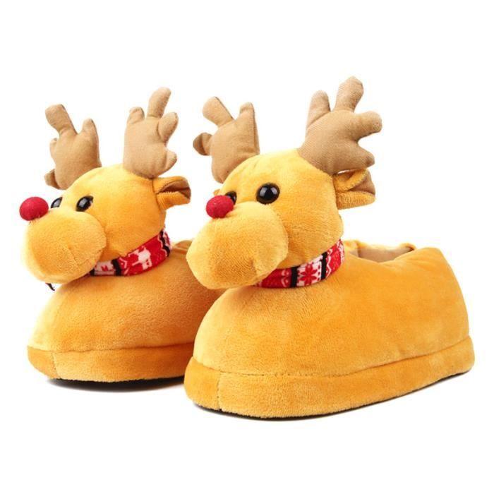 Pantoufles Femmes Hommes en peluche Hiver Cerf de Noël Adulte Chaussons doux et chauds Populaire BLKG-XZ140Jaune38