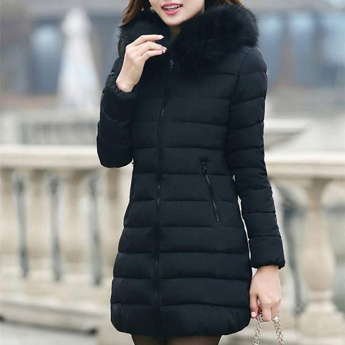 94b6816b1 Doudoune Femme Capuche Fourrure Mi-Longue Manteau Hiver Duvet Très Chaude  Zippé Grande Taille S-3XL (Noir)