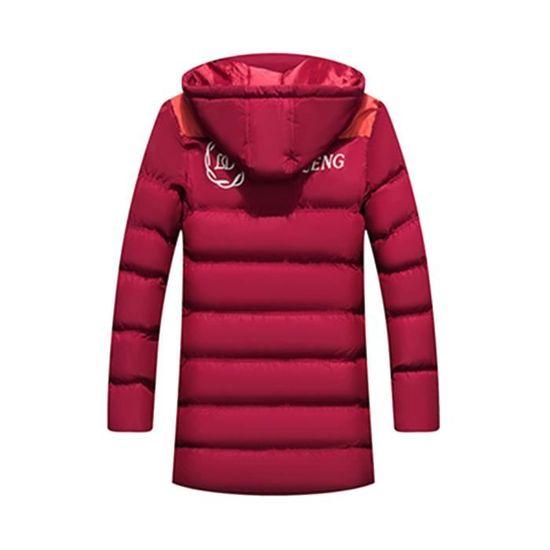 Solide Hommes Zippé Chaud Épais Capuchon À D'hiver Coton Rembourré Manteau En Veste Rouge Toison dYXwXqF