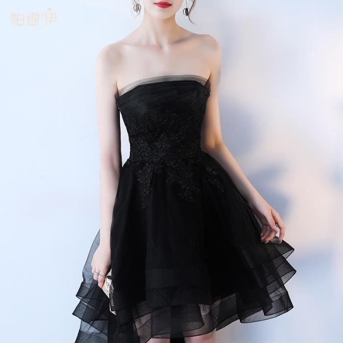 Robe de Soirée Cérémonie Cocktail Femme Bustier Asymétrique Noir Appliques