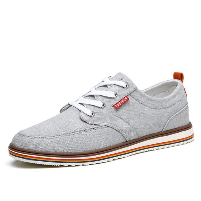 Chaussures Homme Respirant Occasionnels chaussures Low Top Hommes Toile Chaussures Classique M?le Appartements Chaussure Taille 48