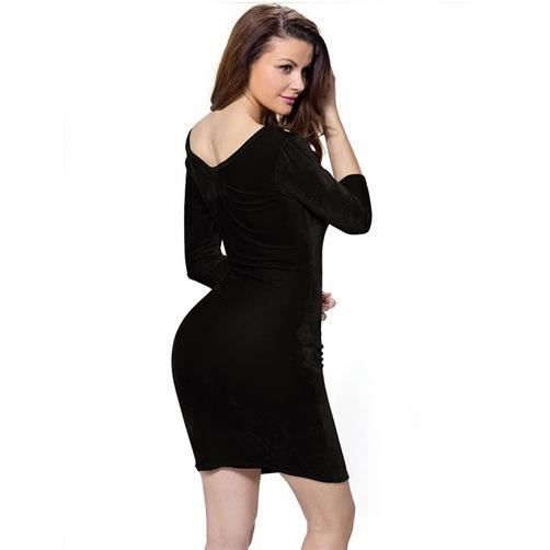 Fitibest Femmes 3-4 Robe manches Paquet de la hanche, Noir