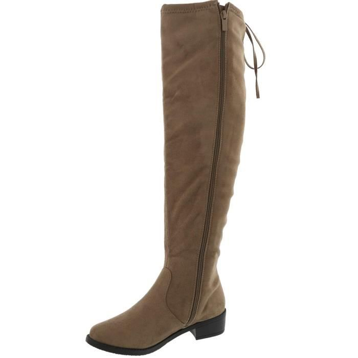 Over The Knee Drawstring Chunky Stacked Block Heel Bottes UZZPK Taille-38