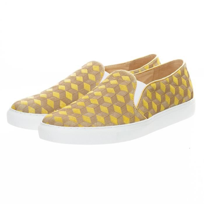 Cheval Mode Casual Mocassins Taille 3koi3g Oisif 1 Sneaker 40 Fur Re Carving Jaune on 2 Laser Slip Vigne rr80zq
