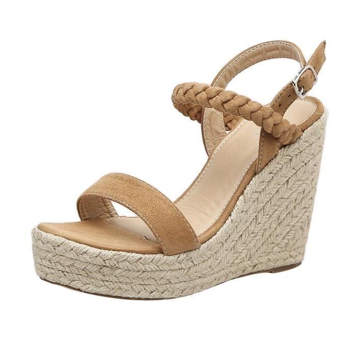 Escarpins Tissé Plate Chaussures Pompes Boucle Marron Femmes Chanvre forme Wedge Sexy Sandales xywOqOTY6F