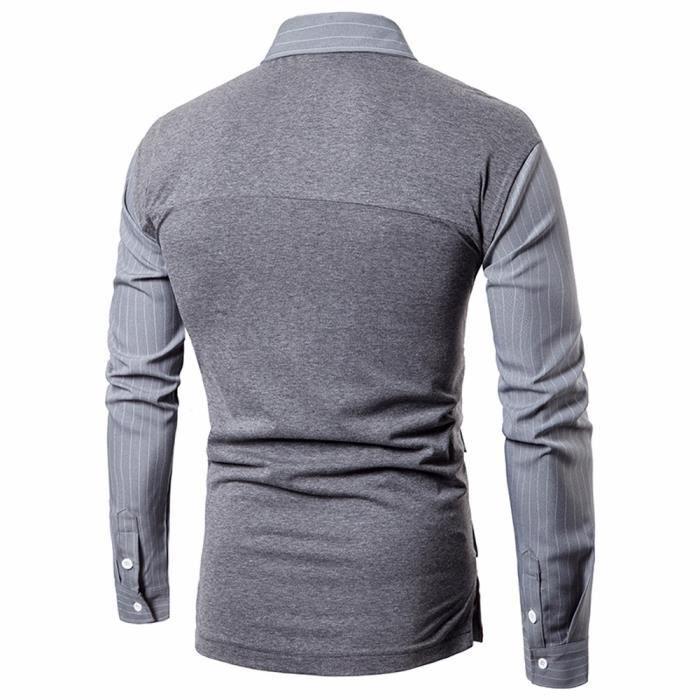 Chemise à manches longues à manches longues pour hommes Automne Slim@Gris
