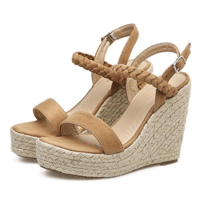Tissé Marron Pompes Wedge Femmes forme Sandales Chaussures Plate Escarpins Sexy Boucle Chanvre wA1pc1q6W4