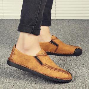 Les étudiants Style haute qualité Simple Véritable Chaussures Mocassins en cuir pour homme s8T5N