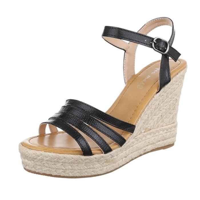 femme sandalette chaussure semelle compensée Plateau escarpin or w4lHbBN