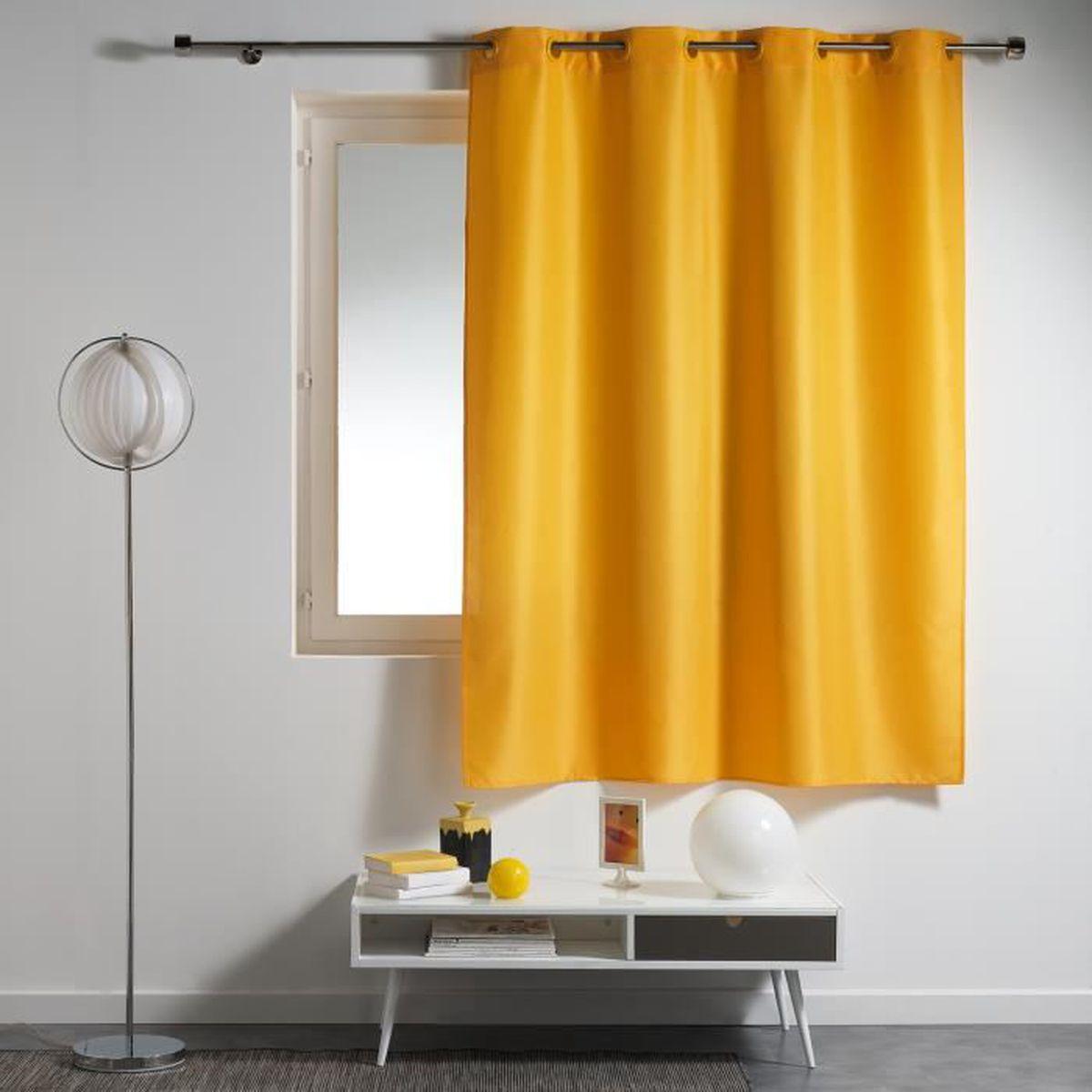 rideau jaune a oeillet achat vente rideau jaune a oeillet pas cher soldes d s le 10. Black Bedroom Furniture Sets. Home Design Ideas