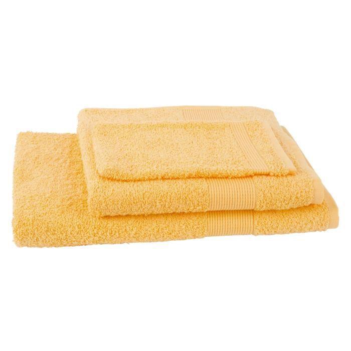 JULES CLARYSSE Lot de 1 serviette + 1 drap de bain + 1 gant de toilette Viva - Jaune