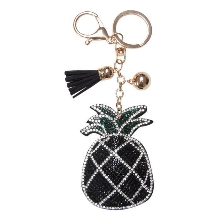 Bijoux de sac, porte-clés motif ananas strass noir, blanc et vert ... a071f49e6e4