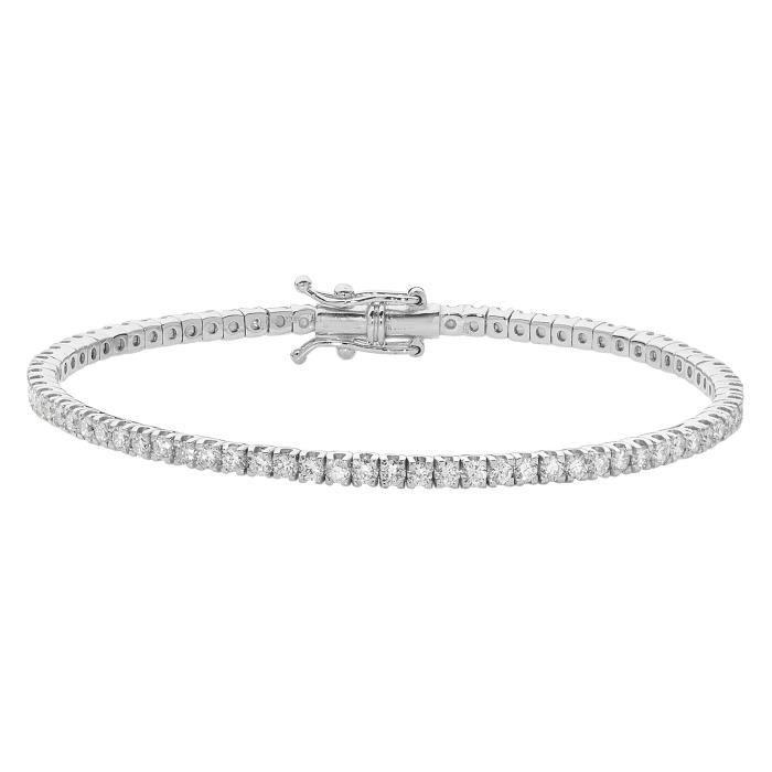 Bracelet Femme Or Blanc 750-1000 et Diamant Brillant 2.22 Carat G - SI VS - 18cm, 9 Grammes 27666