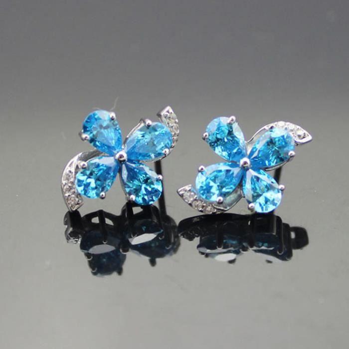 Boucles doreilles quatre-pieds Argent 925/1000Bleu Topaze cubique Zircon Couleur Bleu