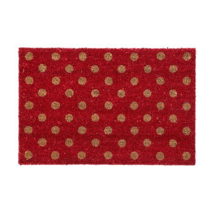 Paillasson Rouge à Pois en Coco - 60x40cm 0,000000