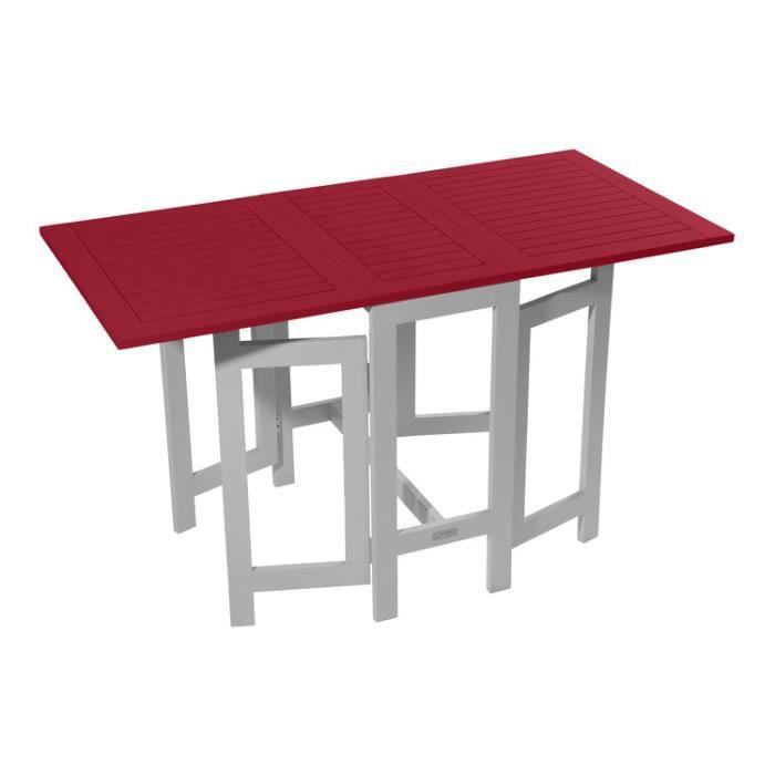 Table console de jardin pliante en acacia 75 à 130x65cm BURANO ...