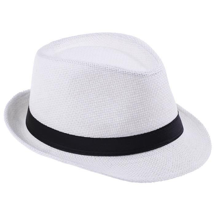 EOZY 10pcs Chapeau de Paille Panama Blanc Femme Homme Blanc - Achat ... 365a4252e967