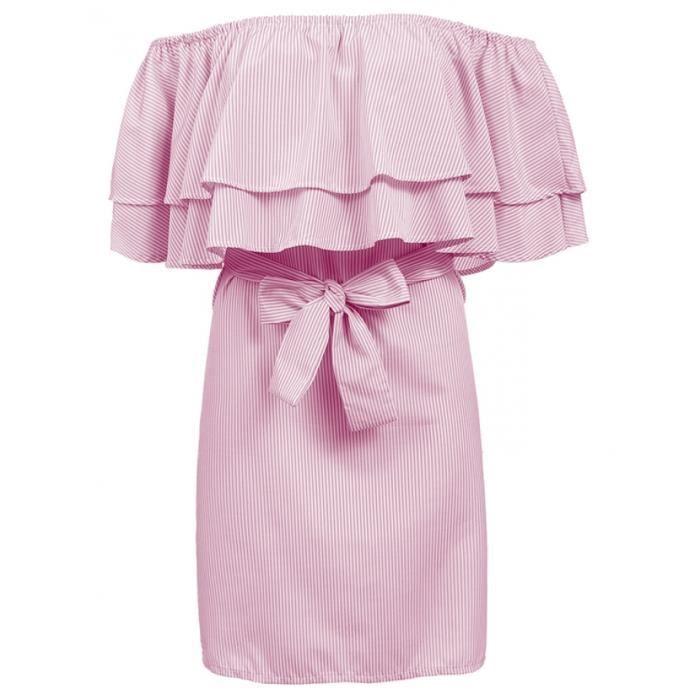 robe avec ceinture femmes volant Slash cou hors de l'épaule manches courtes à rayures