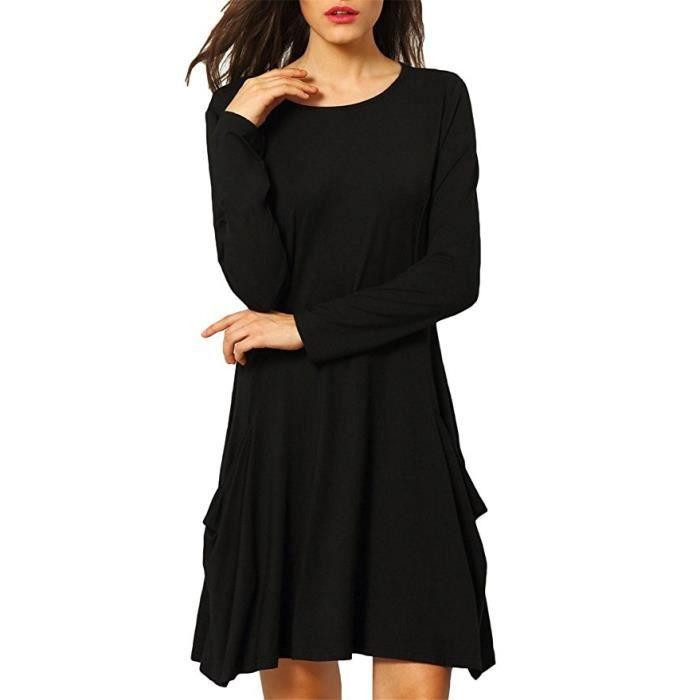 Jupe en coton pour femme Grande pochette lâche Une robe Manches longues Col rond robe de femme Confortable