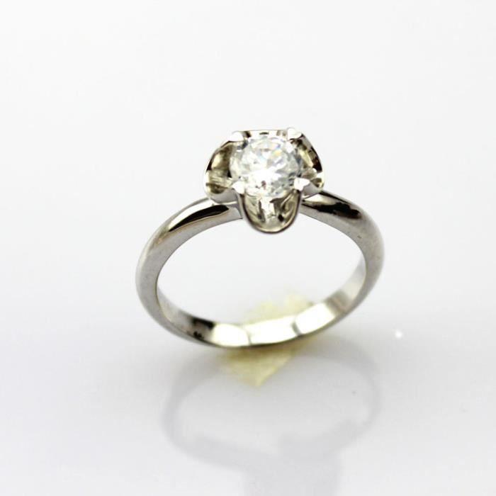 Bague de fiançailles argent 925 sterling Solitaire 6mm Diamants artificielspour femmes