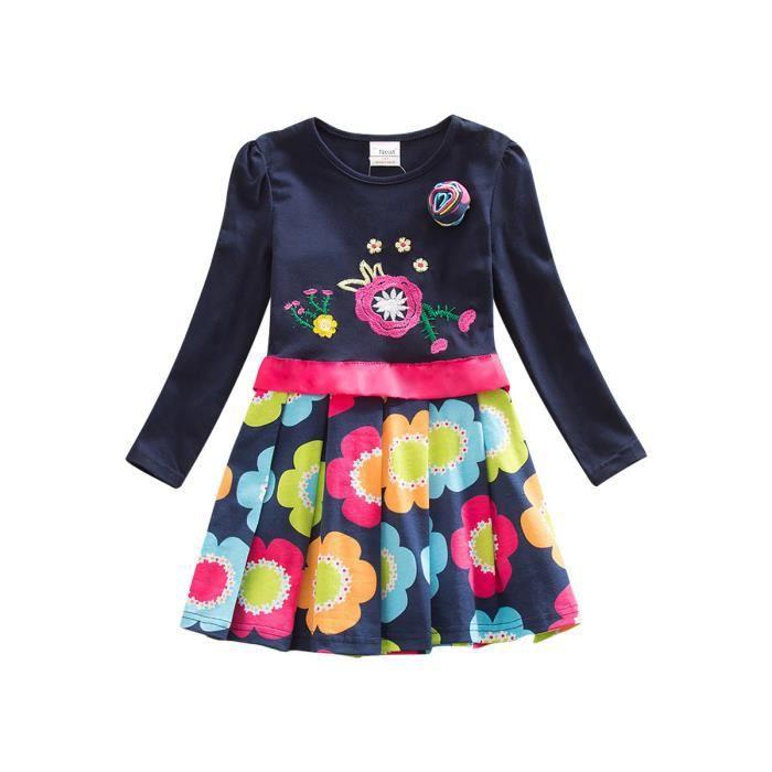 cou à manches longues rondes couleur épissage robes de fleurs filles blocage robes de mode Broche
