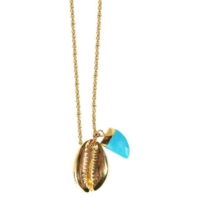 Sautoir NILAÏ en Métal Doré, Coquillage et Turquoise Bleu