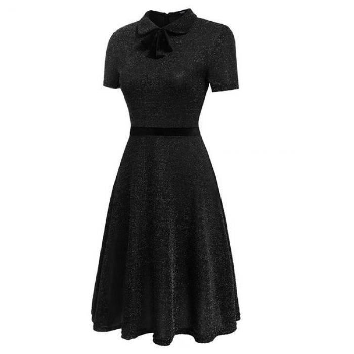 Femmes Robe A-Line Peter Pan Collar Bow courte à glitter Cocktail Party