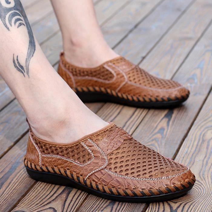 2016 Nouvelle arrivée d'été creux Sandales en cuir maille respirante Loisirs Hommes Chaussures