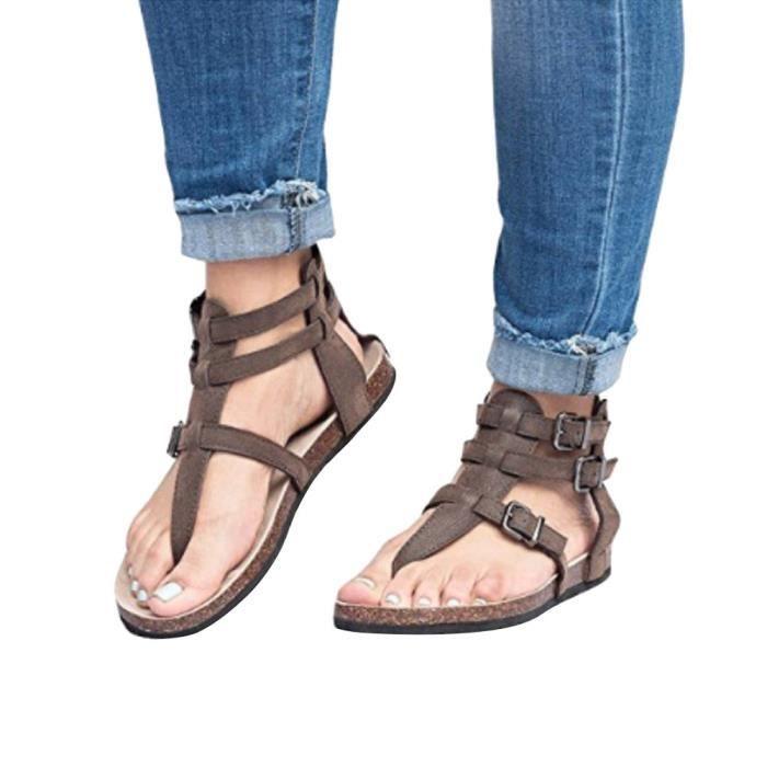 Slippers Ankle Flat Fashion Ladies Roman Buckles Beach Femmes's Marron Shoes Sandals WcB6qFR
