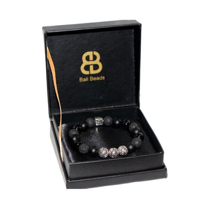 Femmes Onyx et Lava Bracelet Pierre, Obsidian noir et argent sterling Bracelet, perles noires de Brac N2X5K