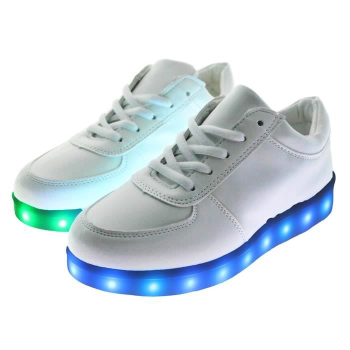 Femme Homme Lace Up Sneakers lumineux Light Up Trainers Casual Sport Chaussures 36ckfVsp