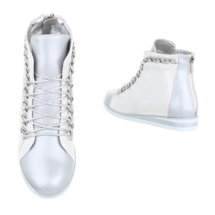 Sport 41 Argent Argent Laceter Chaussures Sneakers noir Femme Zwq8gf4