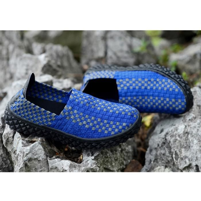 Le tissage de la mode coréenne hommes Slip-on Chaussures plates