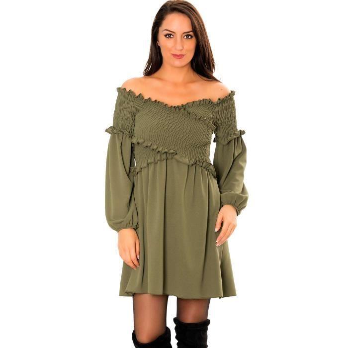 Miss Wear Line - Robe tunique kaki cache-coeur avec buste plissé serré