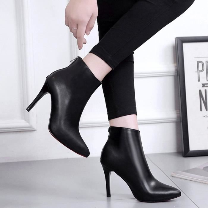 2017 femmes bottes automne et en hiver nouvelle pointe fine avec des bottes à talons hauts après la fermeture bottes Martin femmes