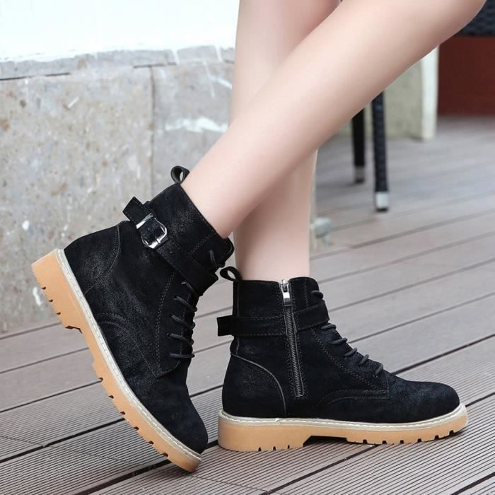 Reservece Lace Round Boots Casual Toe Zip Femmes Shoes Flat Leather Noir Martin up rIwOrAq