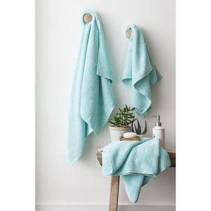 FINLANDEK Set de 2 Draps de douche 70x140 cm + 1 serviette de toilette 50x100 cm KYLPY vert menthe